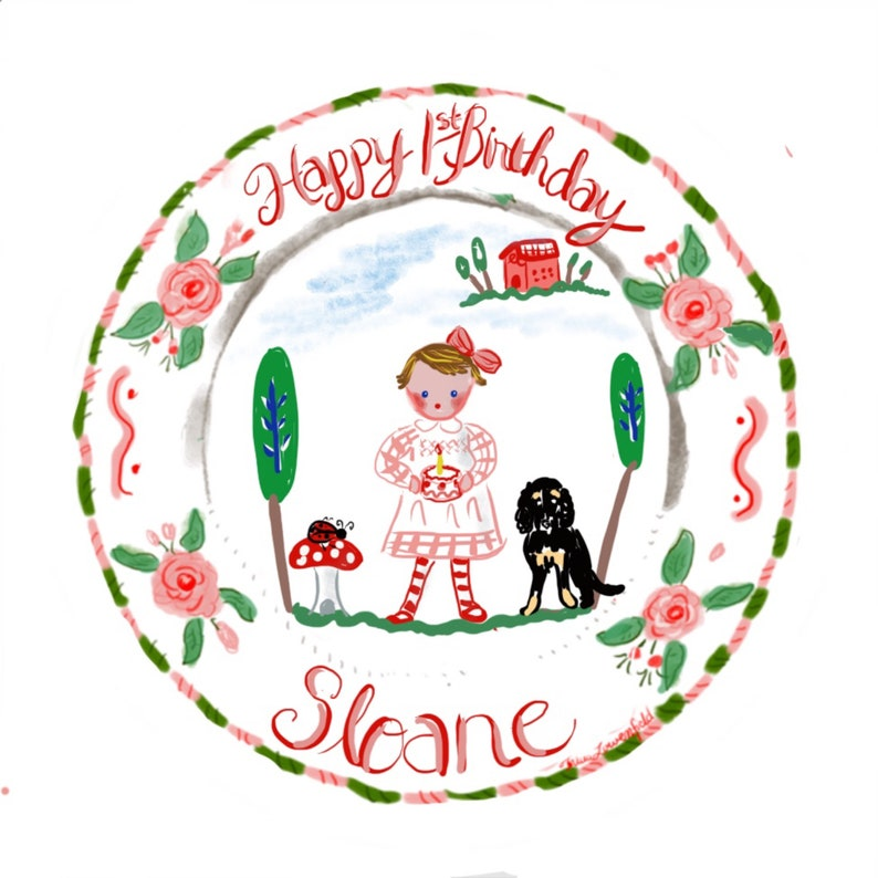 Custom Handpainted Ceramic Plate Gift for child Child Decor,Happy 1st Birthday