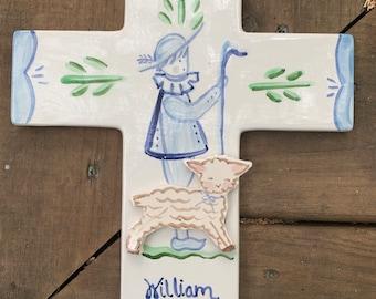 Ceramic Cross Wreath with Shepherd and Lamb,cradle Cross, ceramic  Christening Gift, Baptism Gift, Shepherd cross