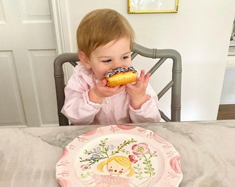 "Birthday Plate, Childs Ceramic 10"" Family Birthday Dinner Plate ,Handpainted Plate ,Personalized"