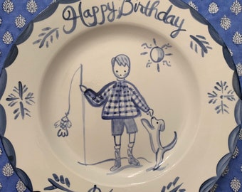 """Birthday Plate, Blue and White, Childs Ceramic 10"""" Family Birthday Dinner Plate ,Handpainted Plate ,Personalized"""
