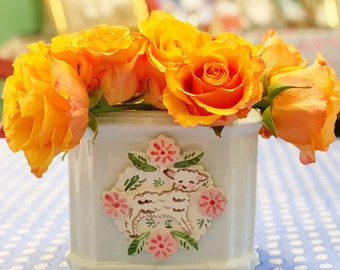 Square Cache Pot with Lamb and Flowers, Handmade Cache Pot, White Flower Pot