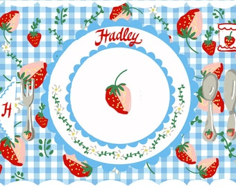 Reserved for Roobi:Laminated Placemat, Personalized Placemat, Blue and white Gingham and Strawberries