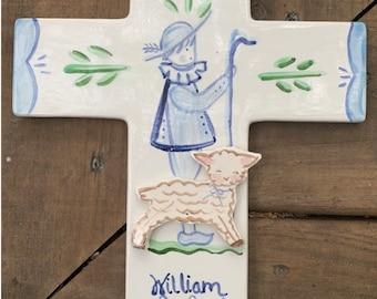 Shepherd and Sheep Ceramic Cross ,cradle Cross, ceramic  Christening Gift, Baptism Gift
