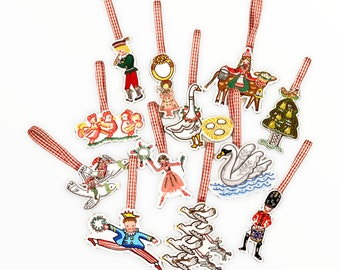 12 Days of Christmas Ornaments, Made in the USA, Embroidered Ornaments,