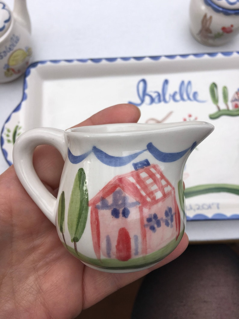 Gift for Girl Childs Tea Set Personalized,Hand Painted Tea Set Personalized