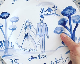 Custom Wedding Gift, Blue and White Plate, ceramic Dinner Plate with Bride and Groom Blue and White Plate, wedding gift