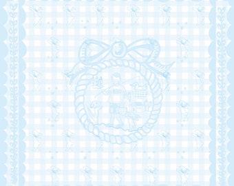 Silk Scarf, Large Silk Whimsical Scarf, Baby Blue Gingham ,Gingham border, Folk Art Design , Wall Art Scarf