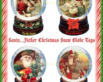 Santa...Father Christmas Snow Globe Tags Digital Collage Sheet