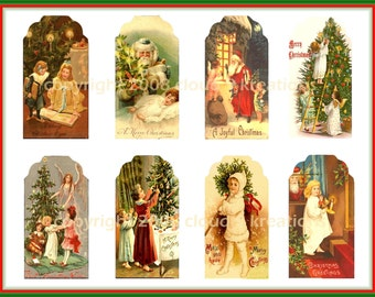 Victorian Christmas Tags Digital Collage Sheet 1