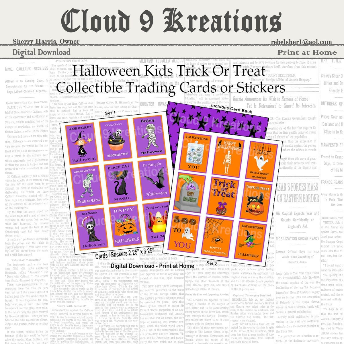 Halloween Cards for Kids, Halloween Cards for Children, Digital Halloween  Cards for Kids, Halloween Stickers for Kids, Halloween Stickers