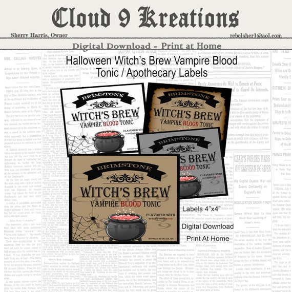 Halloween Witch S Brew Labels Potion Labels Apothecary Etsy