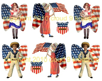 PATRIOTIC 4TH OF JULY BUTTERFLY CHILDREN DIGITAL COLLAGE SHEET