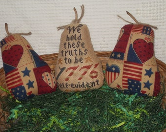 Three Primitive Pears finished cross stitch Americana Patriotic gathering bowl filler cupboard tuck country corner folk art