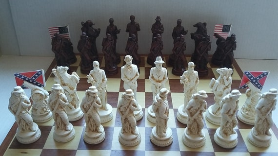 CIVIL , WAR Chess set , Rosewood/Ivory Finishes