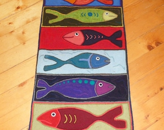 Hooked Rug Fish Runner, Ready to Ship