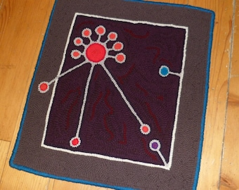 """Hooked Rug """"amoebic"""" Wall Hanging, Ready to Ship"""