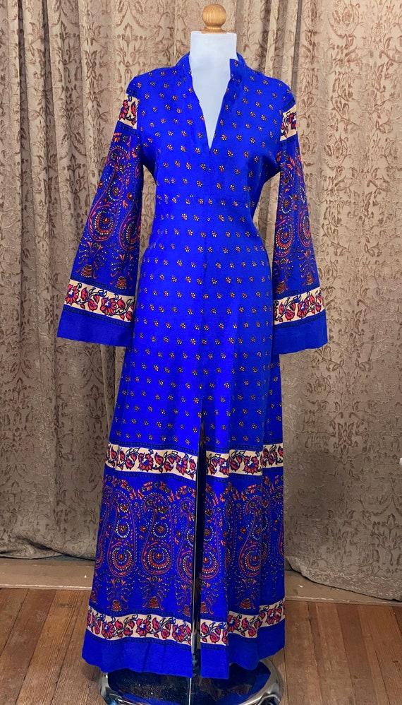 Vintage 70s Batik Maxi Dress Indigo Floral Block P