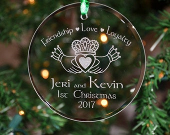 personalized engraved couples irish celtic claddagh glass christmas ornament holiday ornament 1st christmas gift anniversary gift orn10