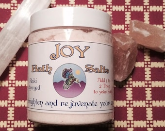 JOY bath salts pink white himalayan salts selenite vanilla citrus 8 oz