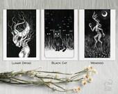 Small Prints Set 1 Lunar Dryad, Black Cat, Wendigo - 5x7 small giclee prints