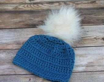 Baby Winter Hat with Pom Pom, Baby Hat,  Newborn Boy Hat, Boy Infant Hat, Pom Pom baby Beanie, Baby Coming Home Hat, Baby Gift