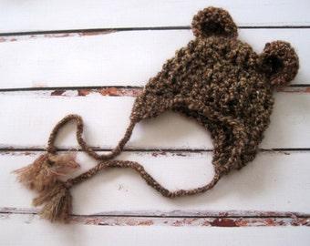 Crochet Baby Hat, Crochet Bear Hat, Baby Bear Hat, Baby Girl Hat, Baby Boy Hat, Newborn Bear Hat, Infant Bear Hat, Baby Animal Hat, Brown