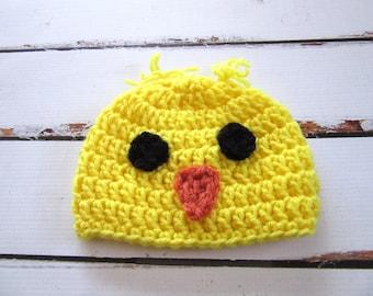 Baby Chick Hat, Crochet Baby Hat, Baby Chicken Hat, Baby Animal Hat, Baby Bird Hat, Baby Boy Hat, Baby Girl Hat, Baby Easter Hat Baby Beanie