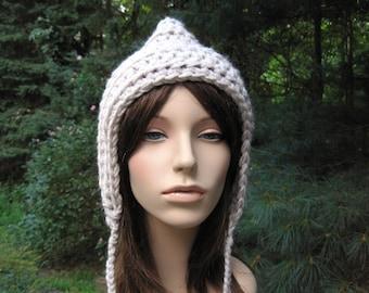 Womens Crochet Hat, Womens Hat, Womens Accessories, Chunky Ear Flap Hat, Fall Fashion, Adult Winter Hat, Teen Hat, Adult Pixie Hat, Linen