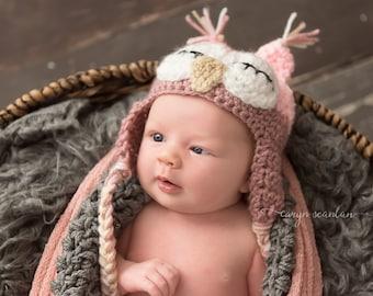 Crochet Baby Hat, Baby Girl Owl Hat, Baby Girl Hat, Crochet Owl Hat, Newborn Owl Hat, Infant Owl Hat, Baby Animal Hat, Pink,  Sleepy Owl