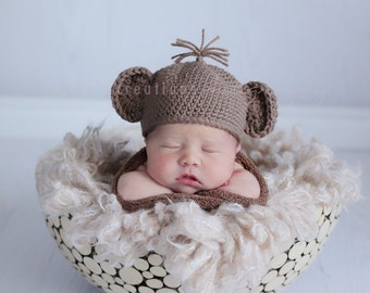 Baby Monkey Hat, Crochet baby Hat, Hat for Newborns, Newborn Hats, Baby Hat Boy, Baby Hat Girl, Infant Baby Photography Prop, Baby Costume