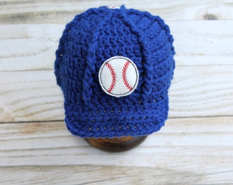 Baby Baseball Hat, Baby Baseball Cap, Baby Hat, Newborn Baseball Hat, Newborn Boy Hat, Baseball Photo Prop, Baby Baseball Beanie, Chicago