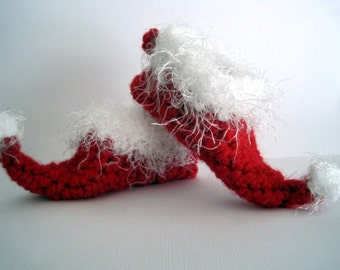 Baby Elf Slippers, Elf Baby Booties, Baby Christmas Booties, Baby Elf Shoes, Baby Elf Booties, Newborn Elf Booties, Christmas Booties, Red