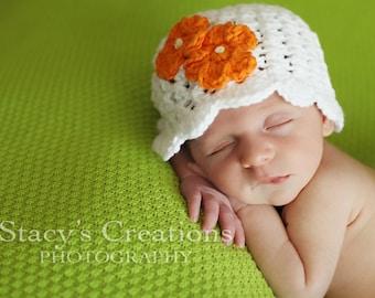 Cotton Baby Hat, Crochet Baby Hat, Baby Girl Hat, Crochet Girl Hat, Baby Sun Hat, Baby Flower Hat, Newborn Hat, Infant Girl Hat, White