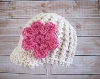 Crochet Baby Hat, Baby Girl Hat, Baby Newsboy Hat, Newborn Crochet Hat, Newborn Girl Hat, Newborn Newsboy Hat, Infant Hat, Baby Beanie