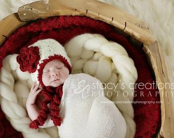Newborn Bonnet, Newborn Girl Bonnet, Baby Girl Bonnet, Newborn Baby Girl Hat, Newborn Flower Hat, Girl Baby Hat, Infant Girl Hat, Ivory