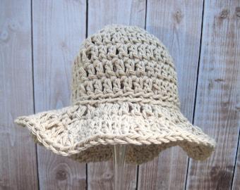 Crochet Baby Hat, Crochet Baby Girl Hat, Crochet Baby Sun Hat, Baby Summer Hat, Newborn Sun Hat, Infant Sun Hat, Floppy, Cotton, Tan