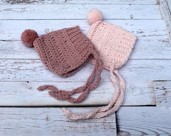 Crochet Pixie Baby Bonnet with Pom Pom, Newborn Girl Hat, Winter Baby Girl Hat, Girl Baby Bonnet, Infant Baby Hat, Baby Girl Shower Gift