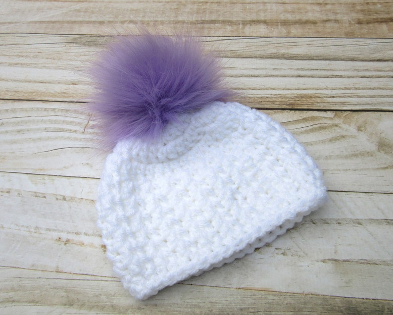 Newborn Hat Purple Baby Girl Winter Hat Girl Newborn Hat Baby Girl Hat with Pom Pom Pom Pom Baby Beanie Baby Hat Infant Hat