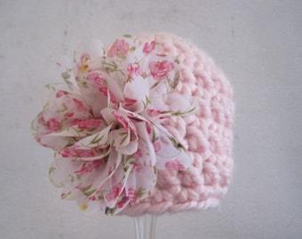 Baby Girl Hat, Crochet Baby Hat, Newborn Girl Hat, Infant Girl Hat, Baby Girl Beanie, Photo Prop, Pink, Baby Flower Hat