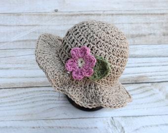 Baby Girl Summer Hat, Baby Girl Hat with Flower, Cotton Baby Hat, Floppy Newborn Hat for Girls, Beach Baby Hat, Newborn Girl Sunhat,