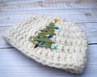 Baby Christmas Hat, Newborn Holiday Hat, Infant Christmas Tree Hat, Baby Hospital Hat, Christmas Photo Prop, Baby Boy, Baby Girl