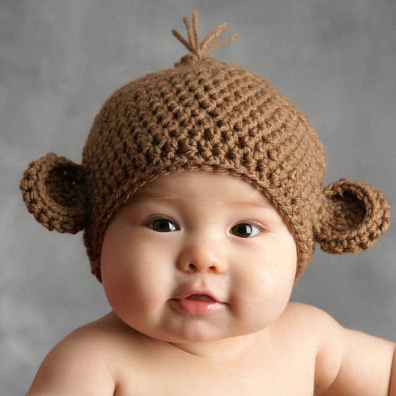 Crochet Baby Monkey Hat Baby Hat Newborn Animal Hat Newborn  bd805ed85439