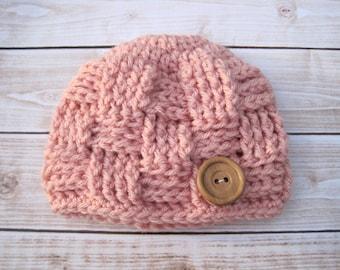 Baby Girl Beanie, Crochet Baby Hat, Girl Baby Hat, Baby Girl Hospital Hat, Pink Baby Girl Hat, Girl Newborn Hat, Baby Beanie