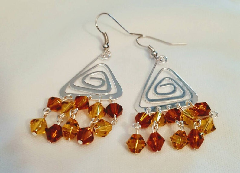 Triangle Crystal Earrings silver dangles chandelier image 0