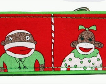 Sock Monkey Red  Martingale Collar-