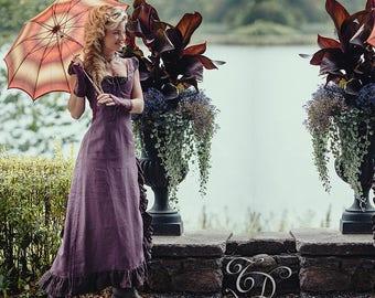 ESMERALDA LINEN DRESS - Boho Bohemian Hippie Romantic Summer Prom Gypsy Shabby chic Mori Wedding Bride Witch Ruffle - Lavender purple