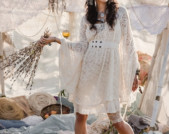 c291c1c759ccf EMPRESS BOHEMIAN DRESS - Lace Hippie Boho Wedding Bride Romantic Lagenlook  Mori Shabby chic Plus size Gypsy Ethnic - Off white Cream