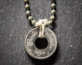 Chicago World's Fair 1934 Token Chain Necklace