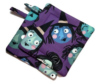 Quilted Pot Holders Set of 2 Witches,Alexander Henry, Purple