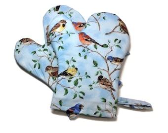 Handmade Oven Mitts, set of 2, Birds Blue